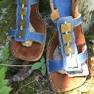Vintage Tsonga Leather Sandals South Africa Blue